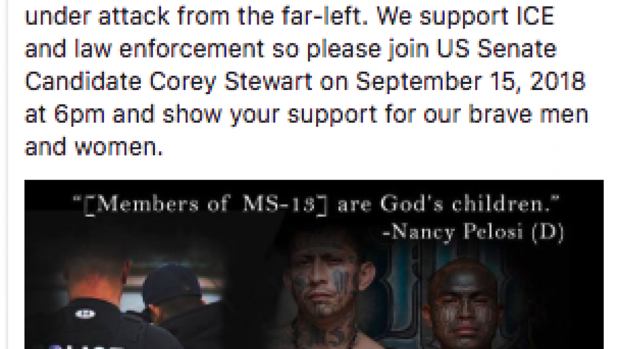 "Corey Stewart Facebook ad ""Rally to Support ICE"""